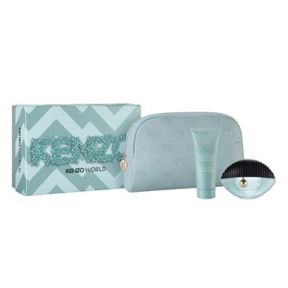 Kit 1 Perfume Kenzo World Feminino Eau de Parfum 75ml + 1 Body Lotion Kenzo 75ml + 1 Necessaire