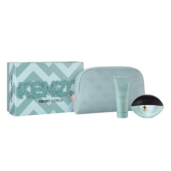 Kit 1 Perfume Kenzo World Feminino Eau de Parfum 75ml + 1 Body Lotion Kenzo  75ml + 1 Necessaire - Incolor