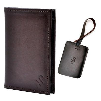 Kit 1 porta-passaporte 1 tag de mala de Couro Hendy Bag Masculino