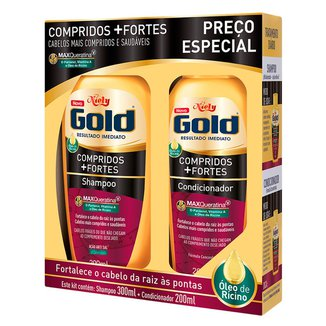 Kit 1 Shampoo Niely Gold Compridos   Fortes - 300ml 1 Condicionador Niely 200ml