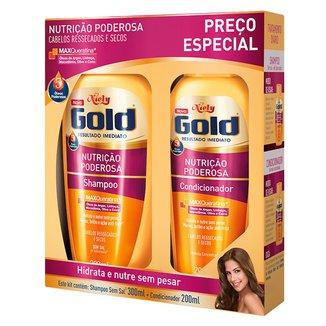 Kit 1 Shampoo Niely Gold Nutrição Poderosa - 300ml 1 Condicionador Niely 200ml