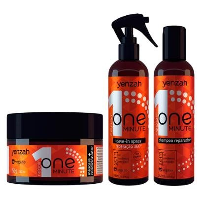 Kit 1 Shampoo Reparador Yenzah One Minute - 240ml 1 Leave-in Spray 240ml 1 Condicionador 250g
