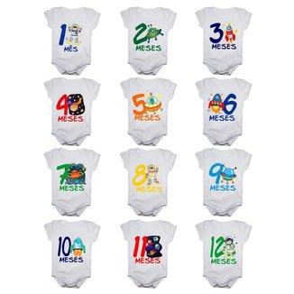 Kit 12 Body Bebê Calupa Mesversario Manga Curta Astronauta 1 A 12 Meses Masculino