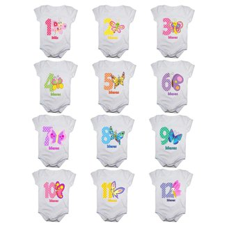 Kit 12 Body Bebê Calupa Mesversario Manga Curta Borboletas 1 A 12 Meses Feminino