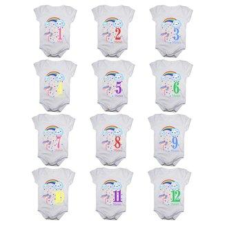 Kit 12 Body Bebê Calupa Mesversario Manga Curta Chuva De Benção 1 A 12 Meses Feminino