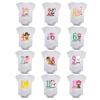Kit 12 Body Bebê Calupa Mesversario Manga Curta Fazendinha 1 A 12 Meses Feminino