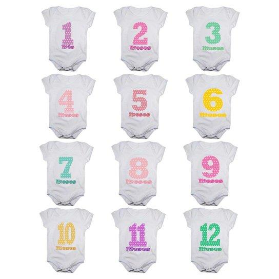 Kit 12 Body Bebê Calupa Mesversario Manga Curta Números Coloridos 1 A 12 Meses Feminino - Branco