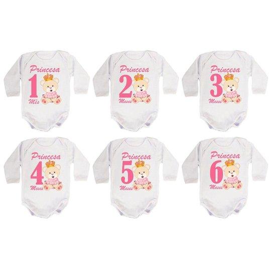 Kit 12 Body Bebê Calupa Mesversario Manga Longa Ursinha Princesa 1 A 12 Meses Feminino - Branco