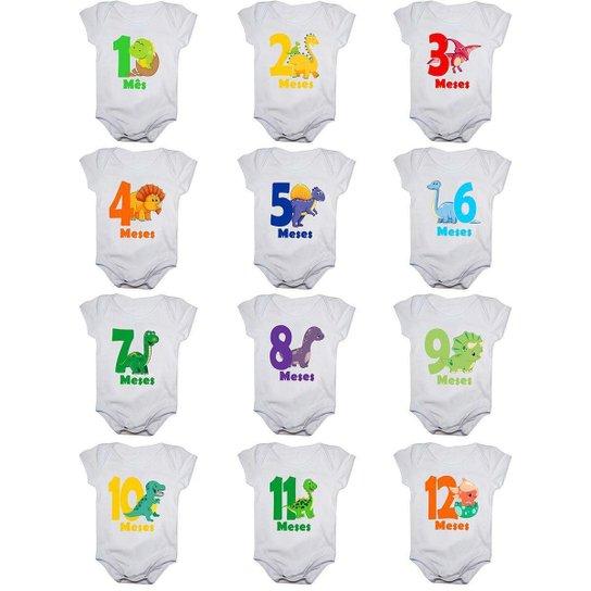 Kit 12 Body Bebê Mesversario Manga Curta Dinossauros 1 A 12 Meses - Branco