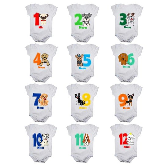 Kit 12 Body Bebê Mesversario Manga Curta Estampa Cachorrinhos 1 A 12 Meses - Branco