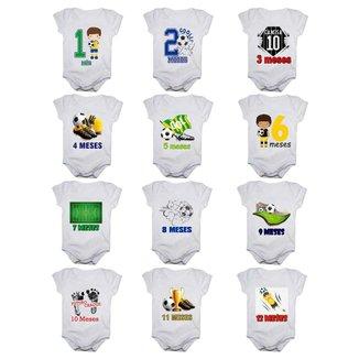 Kit 12 Body Bebê Mesversario Manga Curta Futebol 1 A 12 Meses Masculino