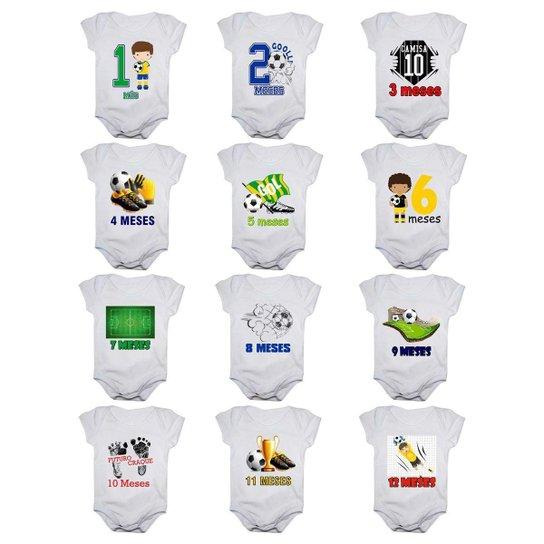 Kit 12 Body Bebê Mesversario Manga Curta Futebol 1 A 12 Meses Masculino - Branco