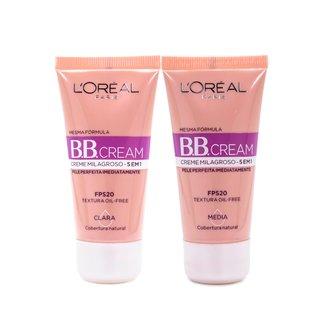 Kit 2 BB Cream L'Oréal Paris com dois tons Clara e Média FPS 20 30ml