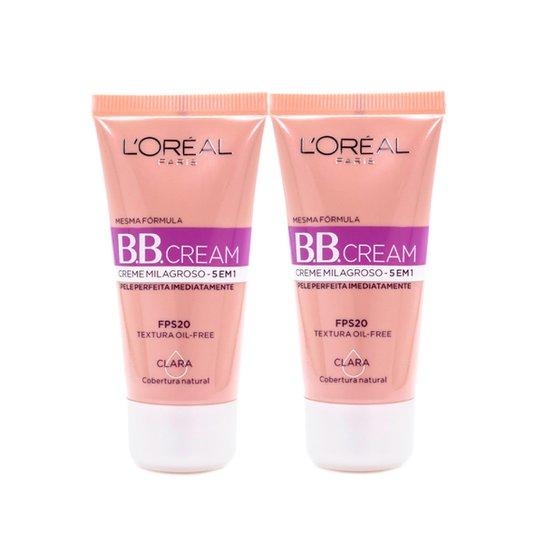 Kit 2 BB Cream L'Oréal Paris cor Clara FPS 20 30ml - Incolor