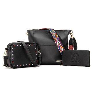Kit 2 Bolsas + Carteira Style Black Alice Monteiro