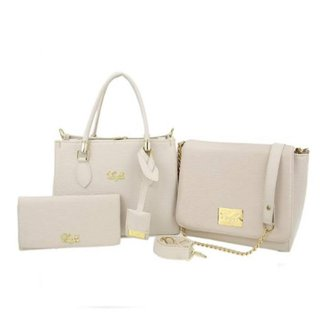 Kit 2 Bolsas Handbag e Flap Lisa + 1 Carteira Feminina