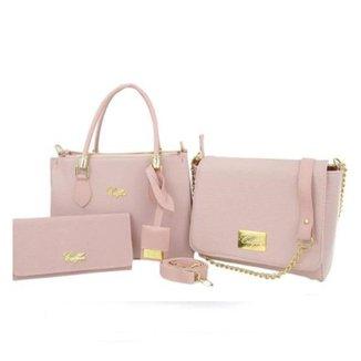 Kit 2 Bolsas Handbag e Flap Lisa + 1 Carteira Feminina