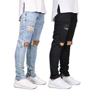 Kit 2 Calças Jeans Ks Casual&Sport Destroyed Rasgada Fashion Masculina