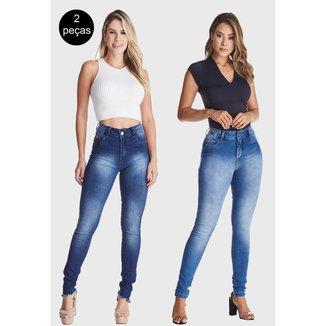 Kit 2 Calças Jeans Zuren Skinny Levanta Bum Bum Azul