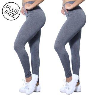 Kit 2 Leggings Plus Size Heide Ribeiro Leg Basic Suplex Barato Feminino