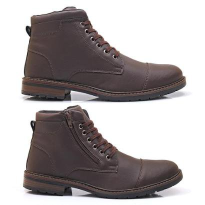Kit 2 Pares de Botas Masculinas North and South Masculino-Cafe