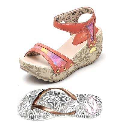 Kit 2 Pares Sandalia Anabela Top Franca Shoes + Chinelo Betina Beker Siriguela Feminina