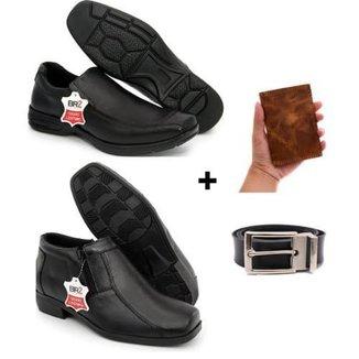 Kit 2 Pares Sapato Social Bota Country Masculino Couro + Cinto e Carteira Conforto Flex Gel