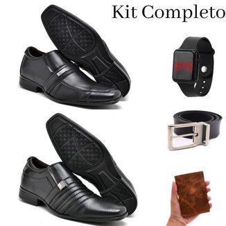 Kit 2 Pares Sapato Social Masculino Conforto Gel + Cinto + Carteira Couro + Relógio