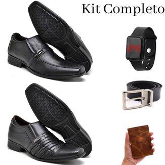 Kit 2 Pares Sapato Social Masculino Couro Conforto Gel + Cinto + Carteira Couro + Relógio