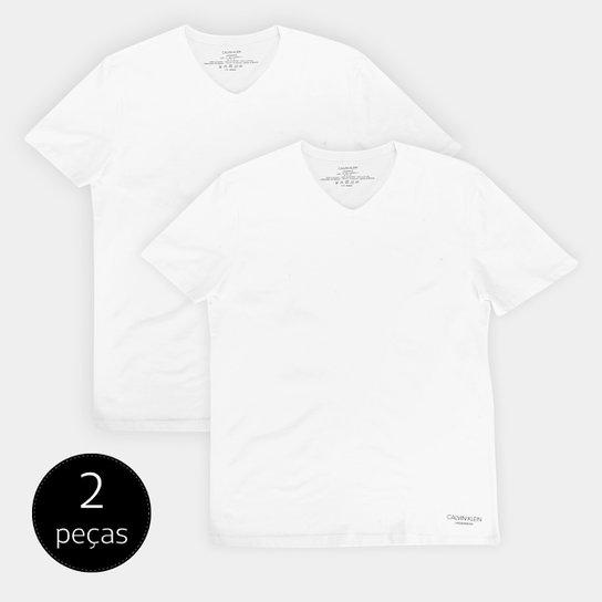 Kit 2 Peças Camiseta Calvin Klein Meia Malha Masculina - Branco