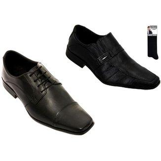 Kit 2 Sapato Social Couro Confortável Elegante Casual + Meia Masculino