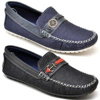 Kit 2 Sapatos Mocassim Masculino Bico Redondo Conforto Macio