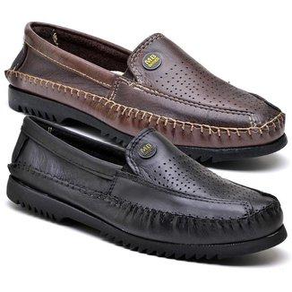 Kit 2 Sapatos Mocassim Masculino Couro Confortável Dia a Dia