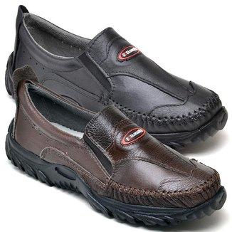 Kit 2 Sapatos Mocassim Masculino Couro Macio Resistente