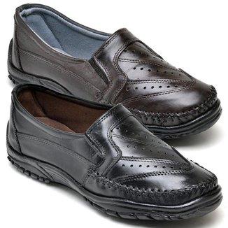 Kit 2 Sapatos Mocassim Masculino Couro Resistente Macio