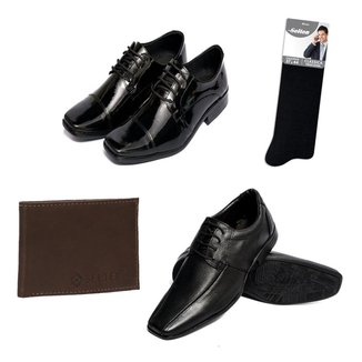 Kit 2 Sapatos Sociais com Meia e Carteira em Couro Selten Masculino