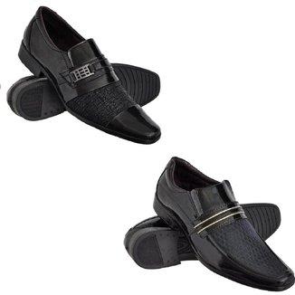 Kit 2 Sapatos Sociais Euro Flex Sola Borracha Verniz Leve Masculino