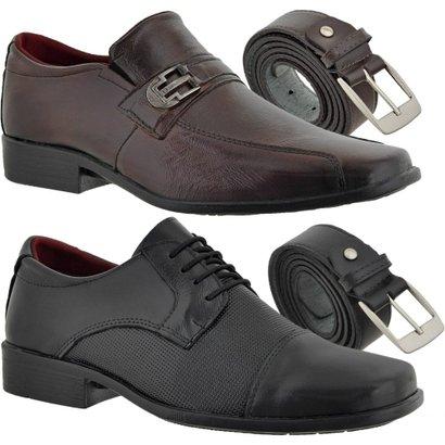 Kit 2 Sapatos Social Difranca e 2 Cintos em Couro