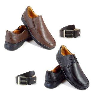 Kit 2 Sapatos Social Enviamix Conforto + 2 Cintos em Couro Masculino