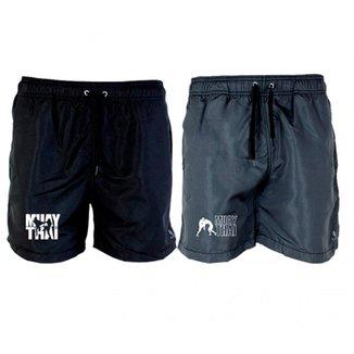 Kit 2 Short Tactel Masculino Muay Thai Leve Conforto