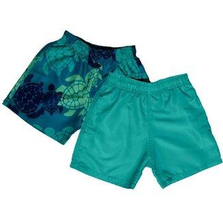 Kit 2 Shorts D'água Infantil Jokenpô Tartaruga Masculino Verde + Verde Água