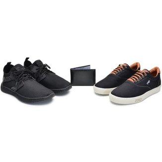 Kit 2 Tênis + Carteira Top Shoes Masculino Conforto Casual