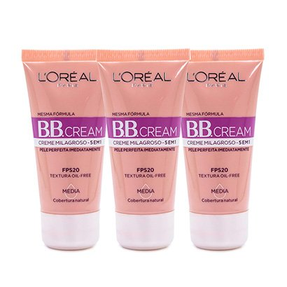 Kit 3 Bb Cream L'oréal Paris Cor Média Fps 20 30Ml-Feminino