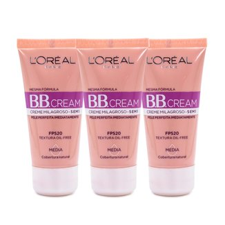 Kit 3 BB Cream L'Oréal Paris cor Média FPS 20 30ml