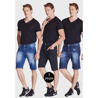 Kit 3 Bermudas HNO Jeans Premium Promoção