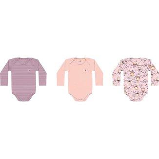 Kit 3 Bodys Manga Longa Kiko Baby Bebe Feminino Tamanho Rn Ao G