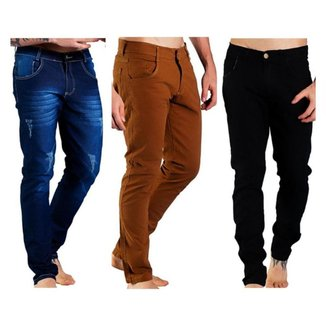 Kit 3 Calças Jeans Sandro Moscoloni Masculina Skinny Masculina