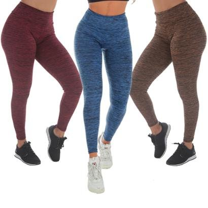 Kit 3 Calças Legging Risca Fitness Feminina