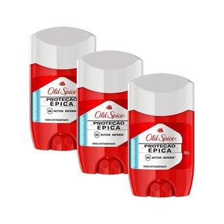 Kit 3 Desodorante em Barra Old Spice Proteção Épica Mar Profundo 50g