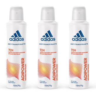Kit 3 Desodorantes Adidas Adipower Aerossol Feminino 150ml